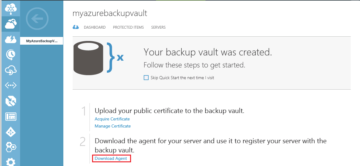 Download Azure Backup Vault Agent