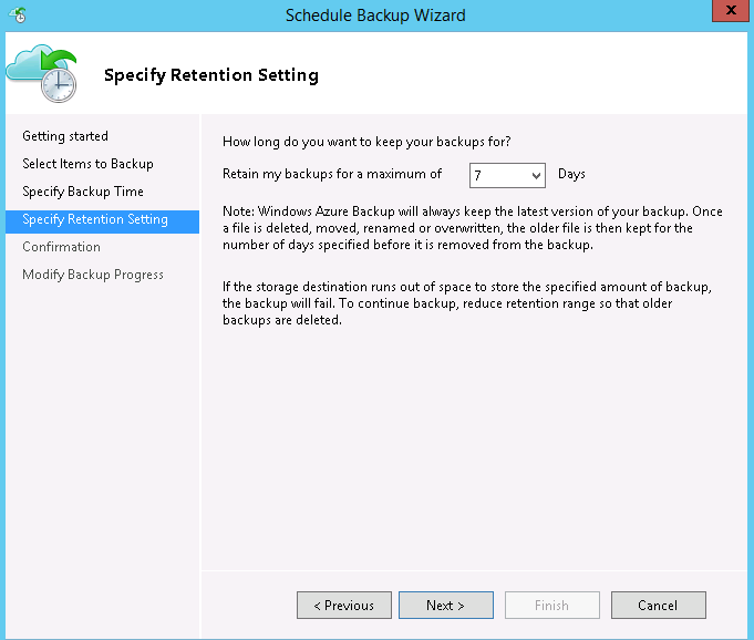Backup retention settings in Server1