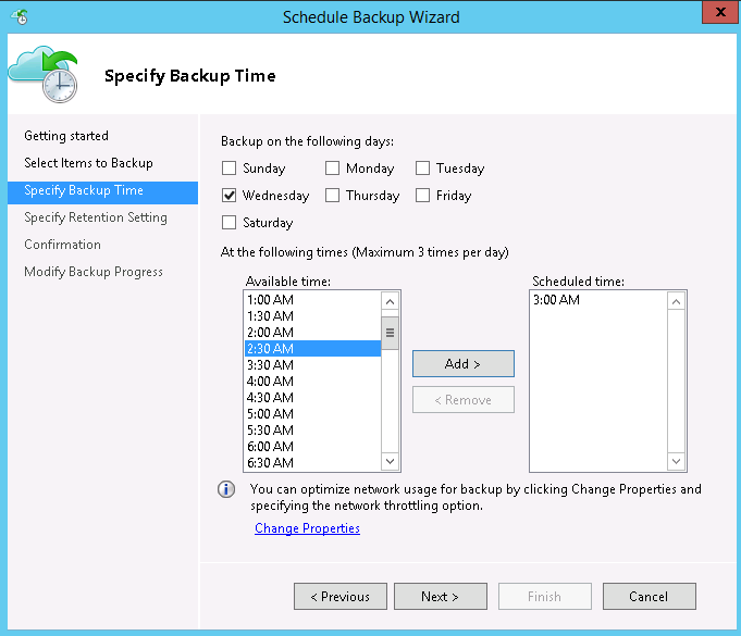 Backup time in Server1