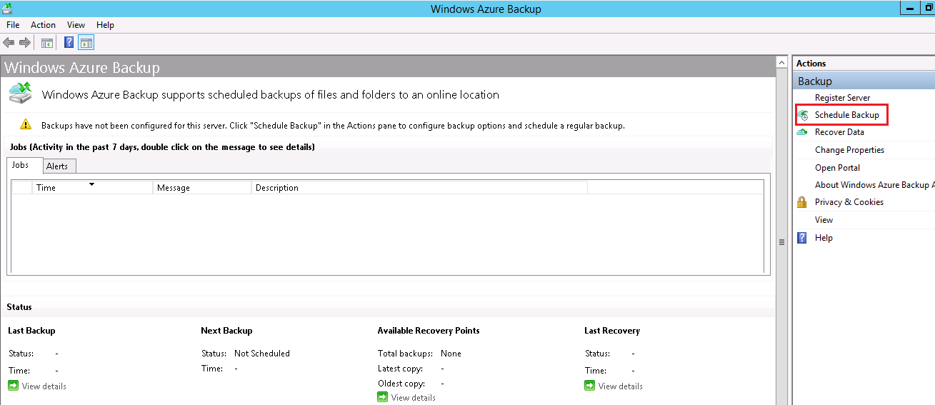 Schedule azure backup in Server1