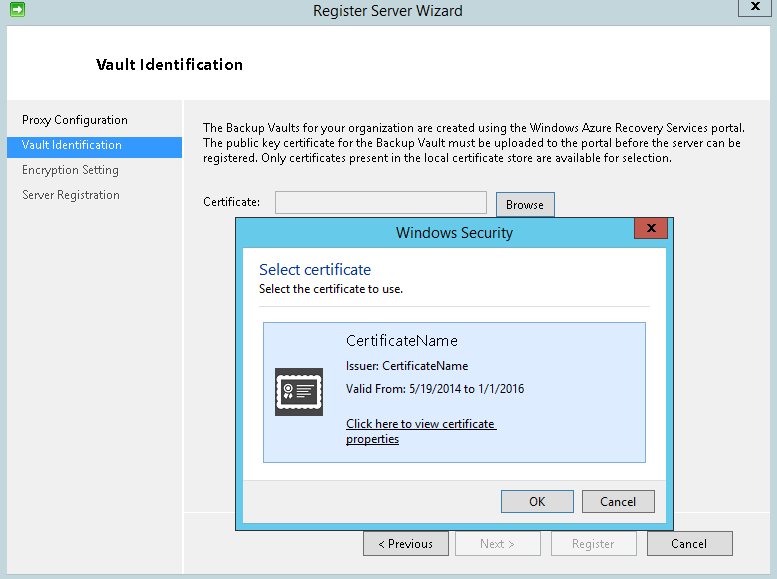 Register Server1 vault certificate selection